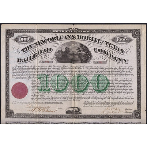 The New Orleans, Mobile and Texas Railroad Company 1873 Bond Certificate - Oliver Ames Jr. Signature