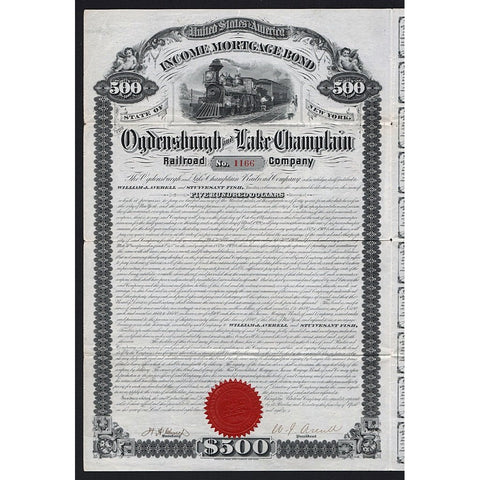 Ogdensburgh and Lake Champlain Railroad Company 1880 Bond Certificate - Stuyvesant Fish Signature