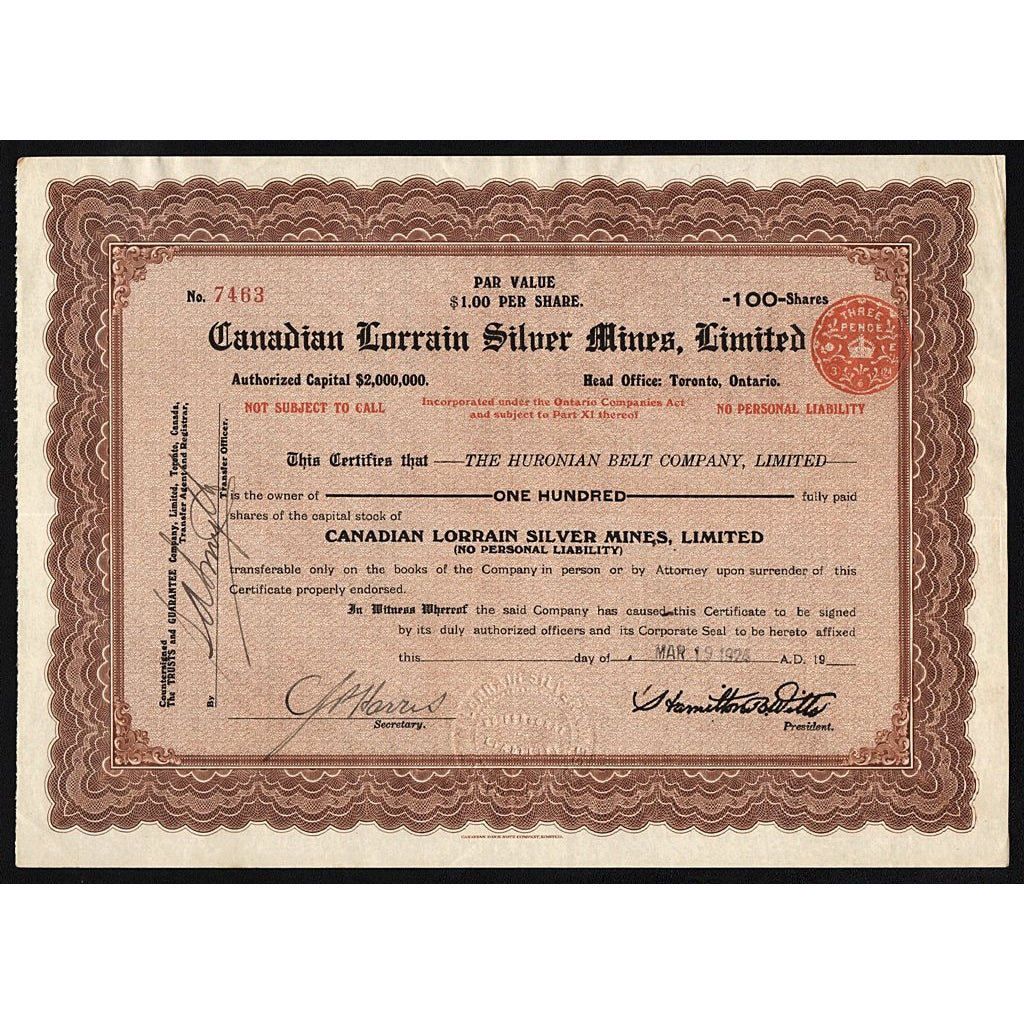 Canadian Lorrain Silver Mines, Limited Canada Stock Certificate
