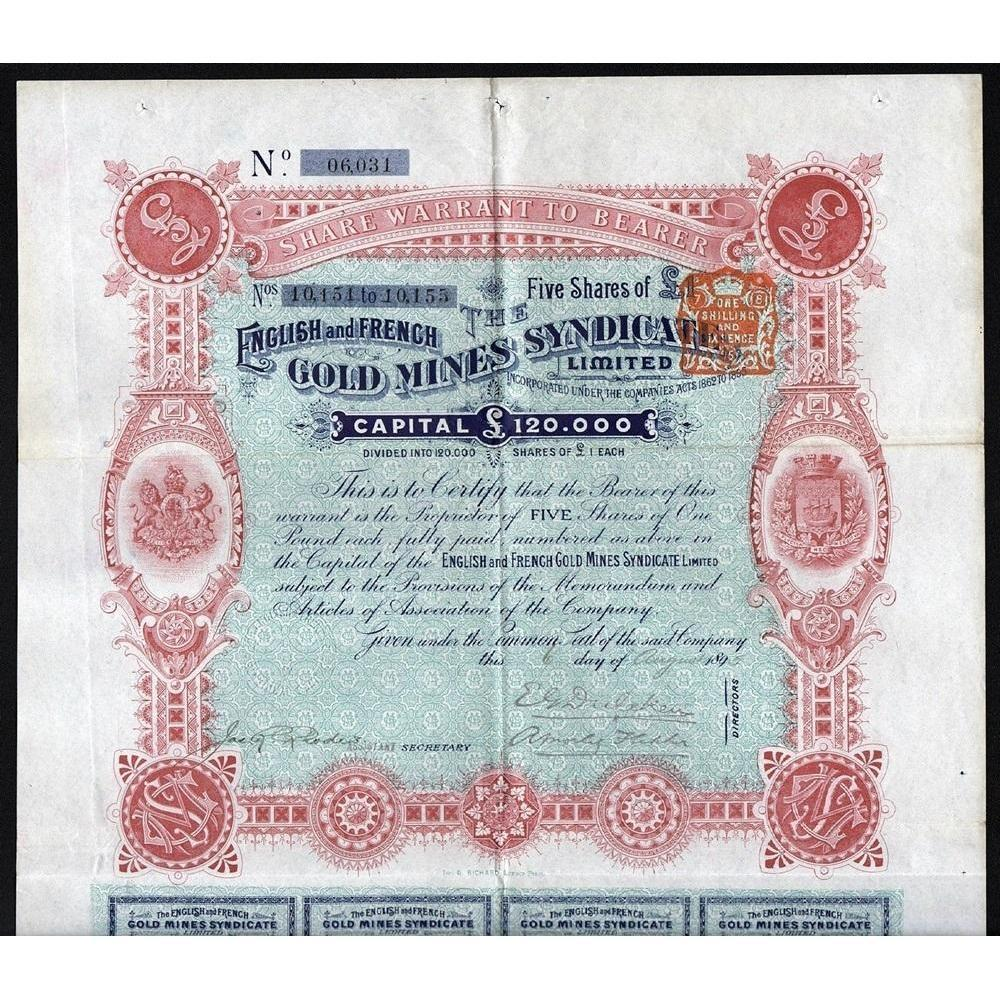 The English and French Gold Mines Syndicate Limited Stock Certificate