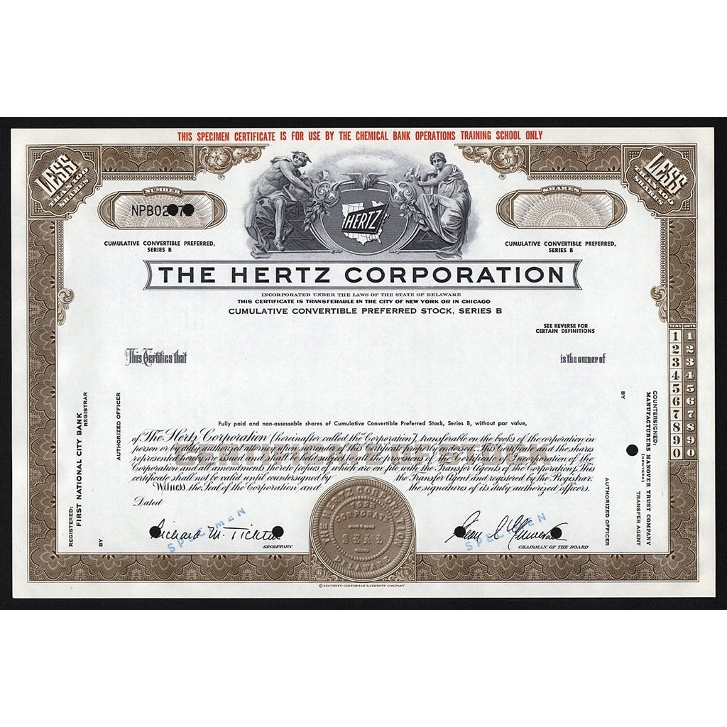 The Hertz Corporation (Specimen) Auto Rental Company Stock Certificate
