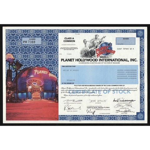 Planet Hollywood International, Inc. Stock Certificate