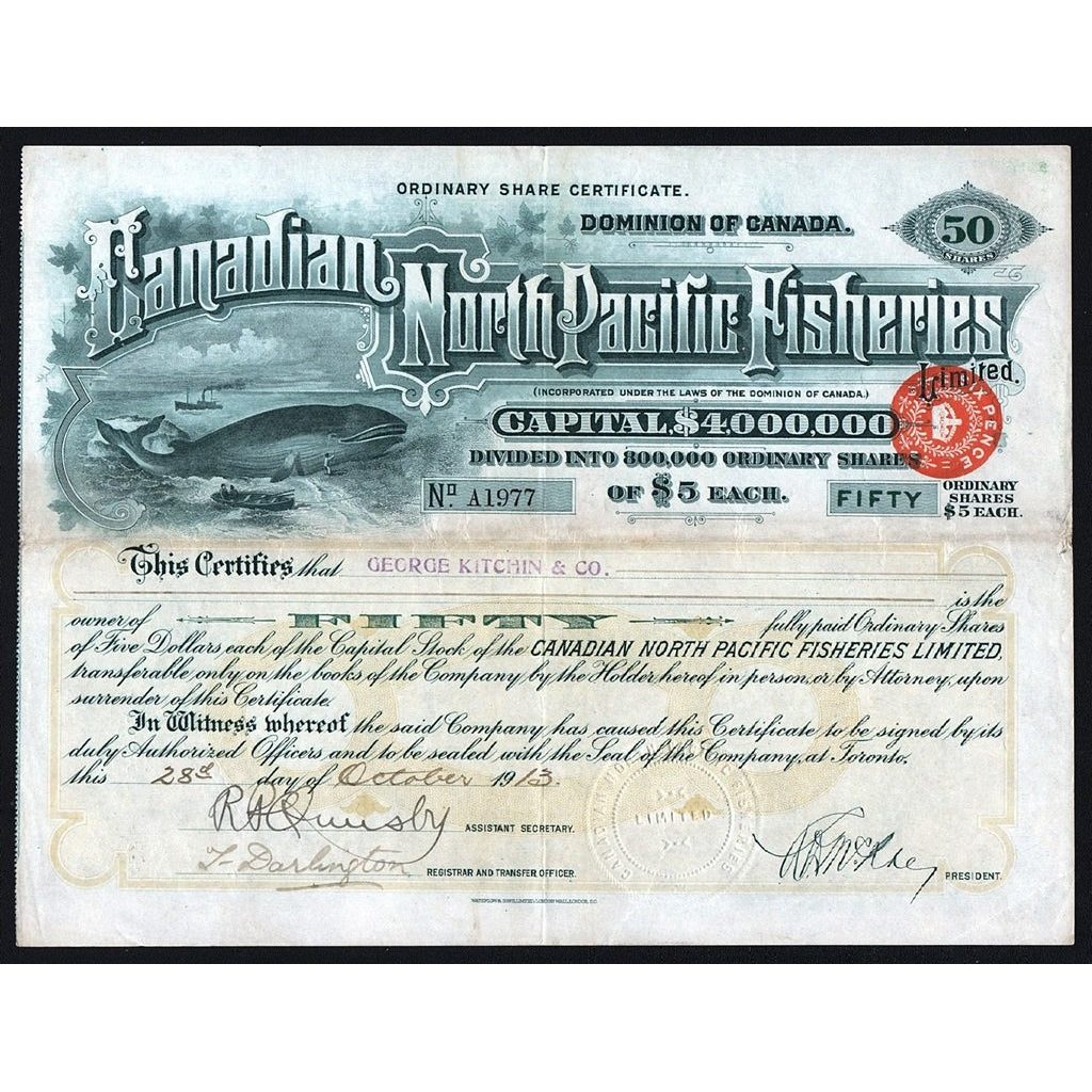 Canadian North Pacific Fisheries 1913 Canada Stock Certificate
