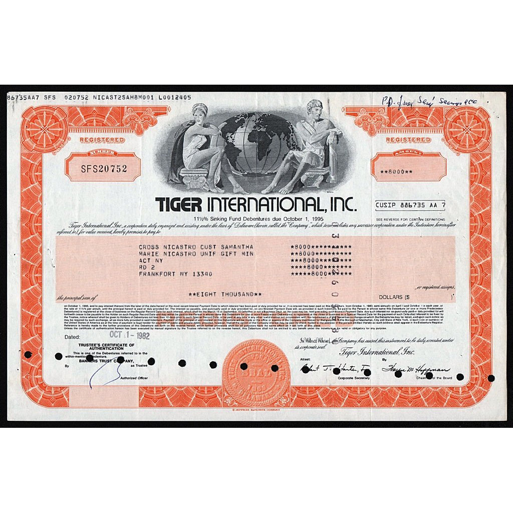 Tiger International, Inc. Debenture Bond Certificate