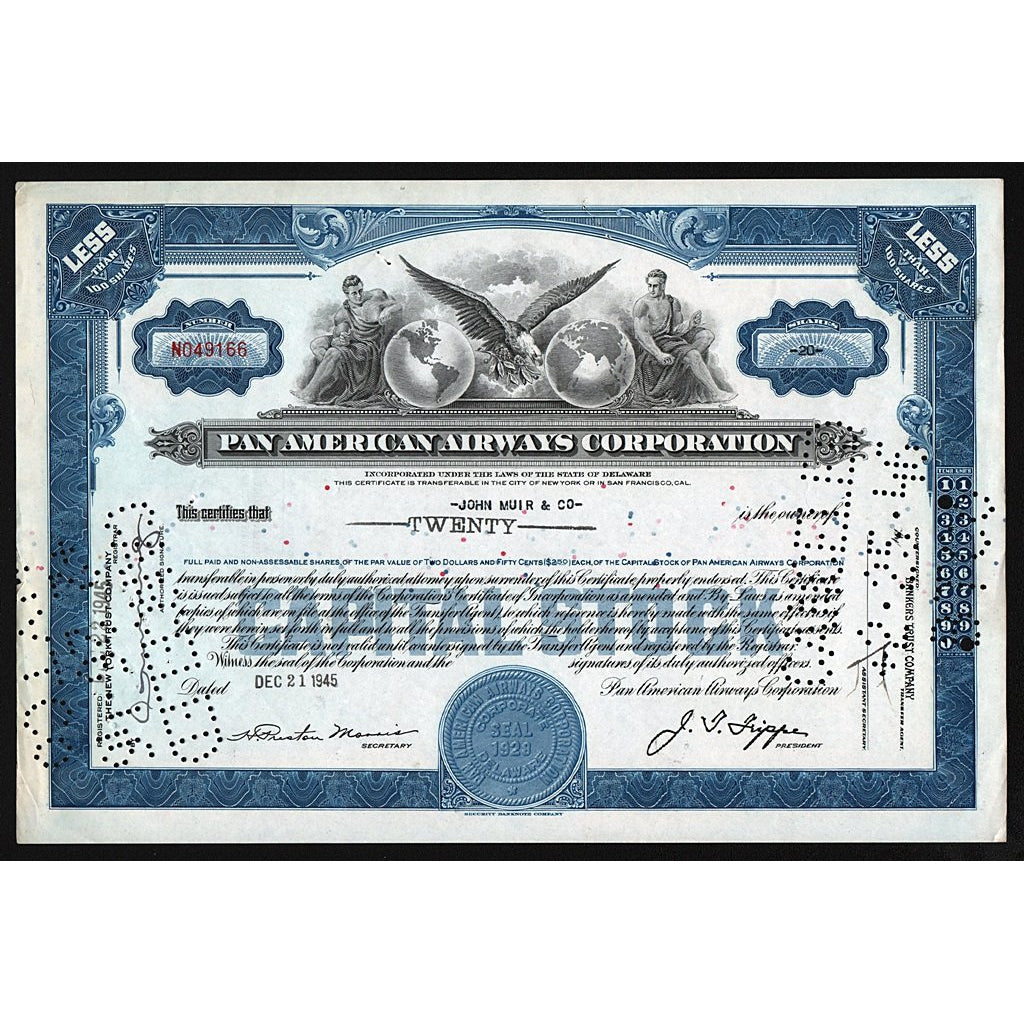 PanAm Pan American Airways Corporation Stock Certificate