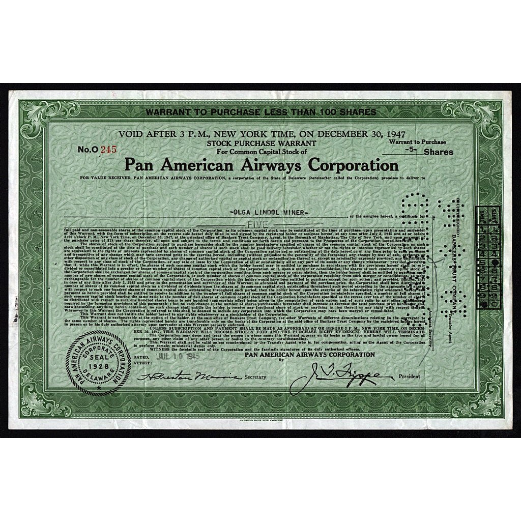 PanAm Pan American Airways Corporation Share Warrant Stock Certificate