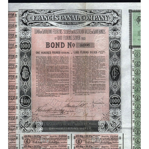 Francis Canal Company, Hungary 1873 Stock Bond Certificate