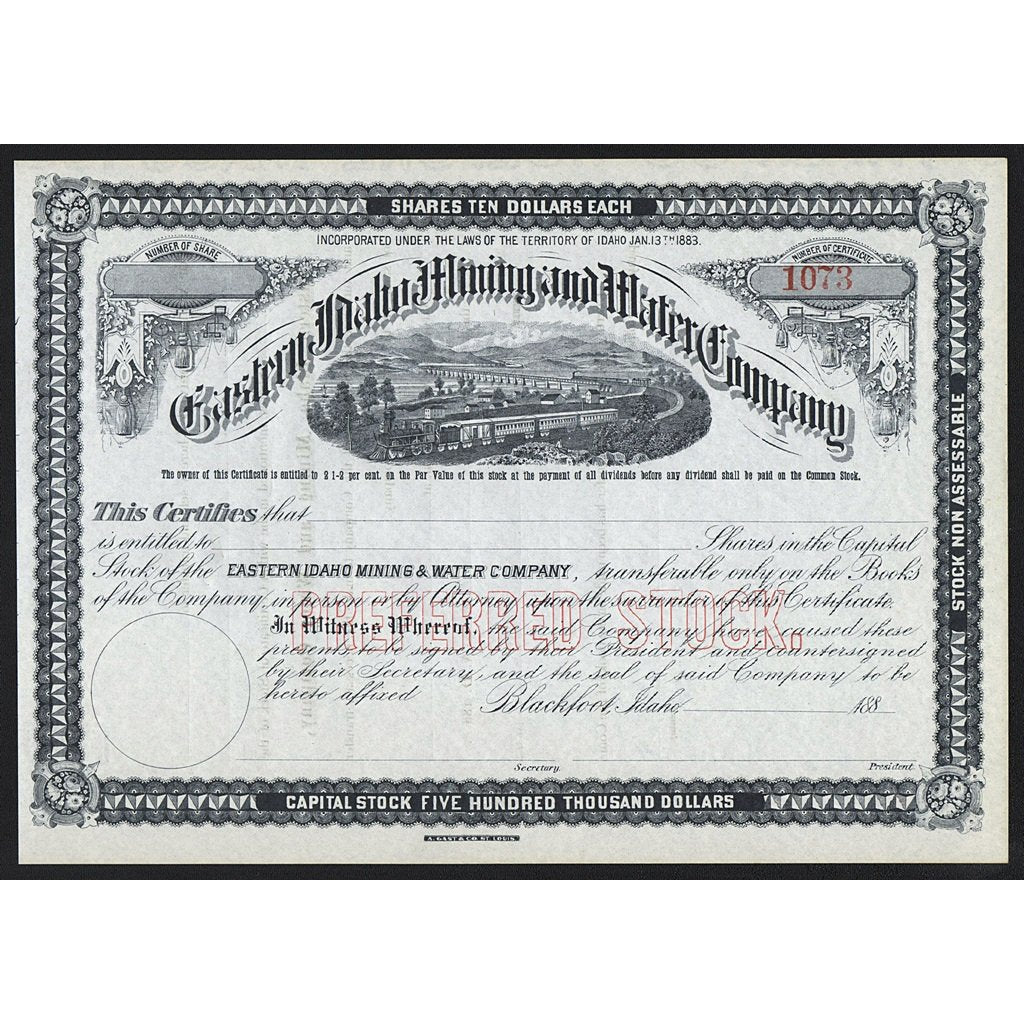 Eastern Idaho Mining and Water Company Blackfoot Stock Certificate