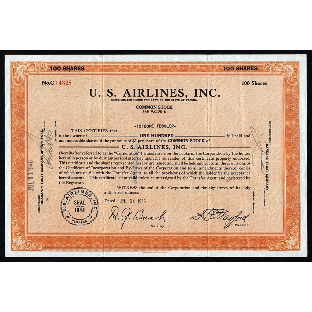 U.S. Airlines, Inc. 1945 Florida Stock Certificate