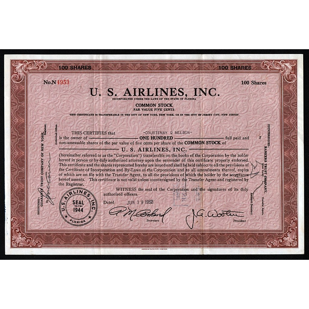 U.S. Airlines, Inc. 1952 Florida Stock Certificate