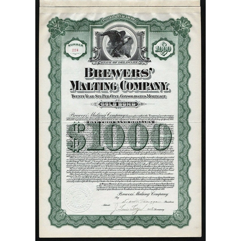 Brewers' Malting Company 1911 $1000 Gold Bond Certificate