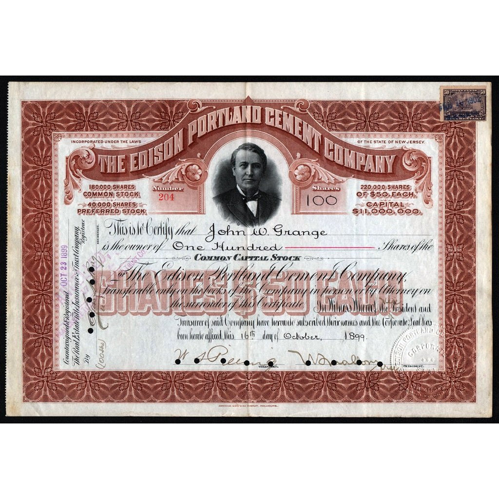 The Edison Portland Cement Company 1899 New Jersey Stock Certificate