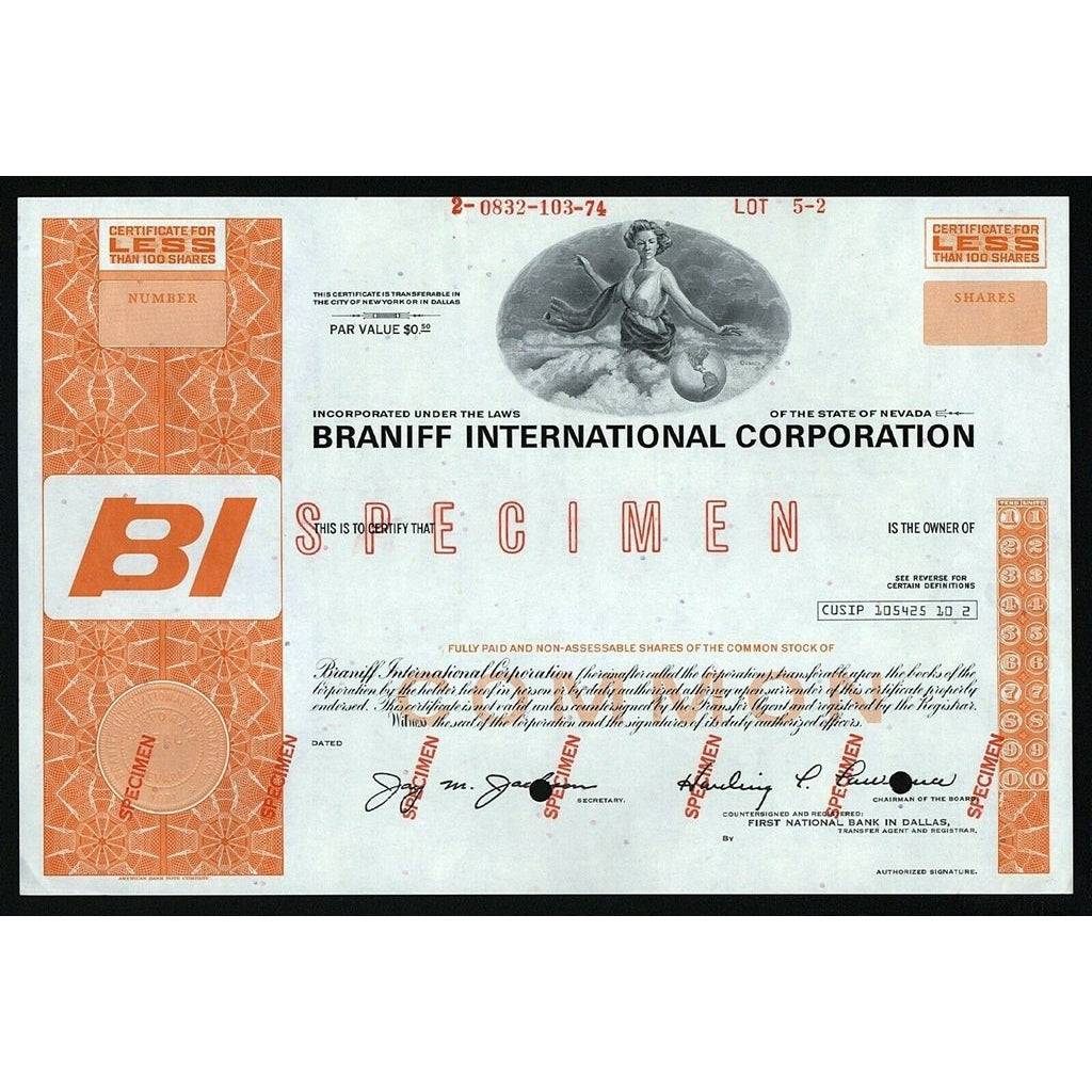 Braniff International Corporation (Specimen) Airways Nevada Stock Certificate