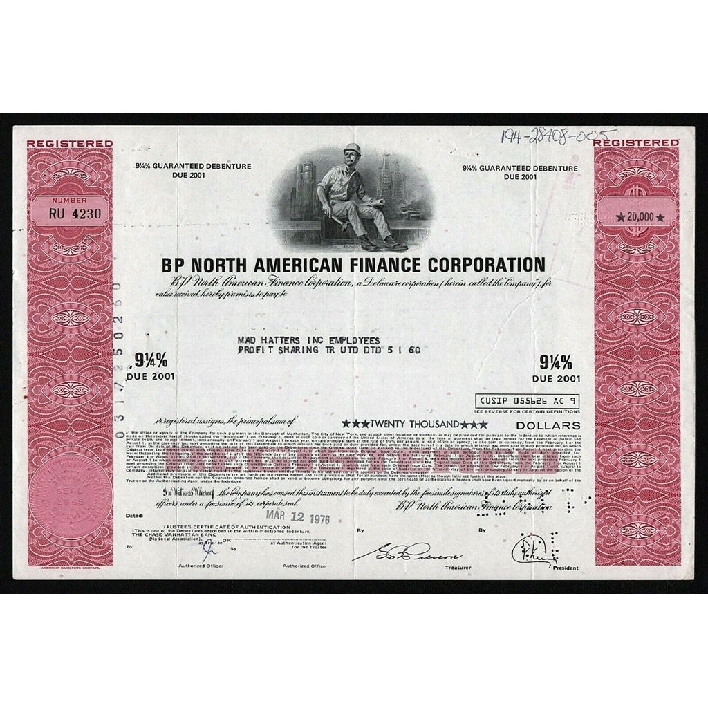 BP North American Finance Corporation (British Petroleum) Bond Certificate Debenture