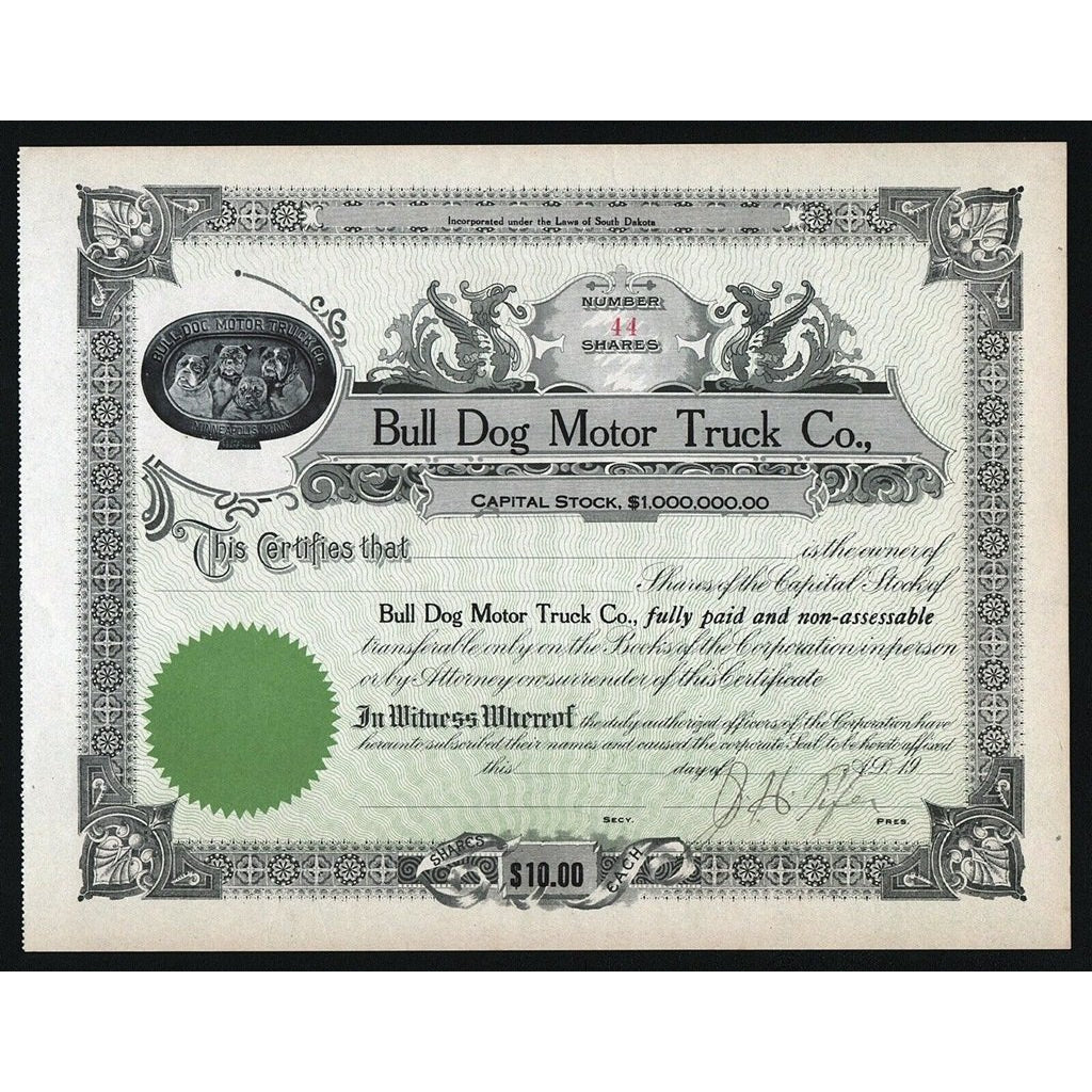 Bull Dog Motor Truck Co. South Dakota Stock Certificate