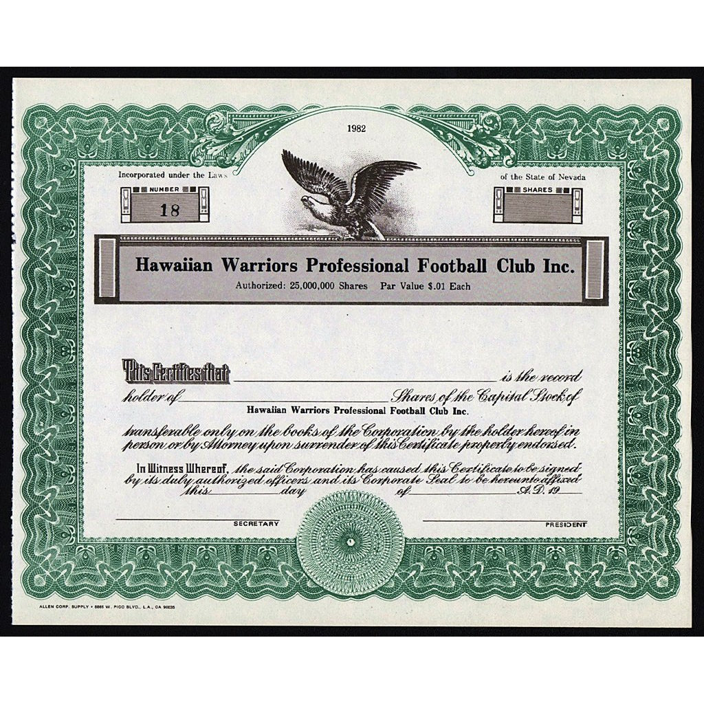 Hawaiian Warriors Professional Football Club Inc. Stock Certificate