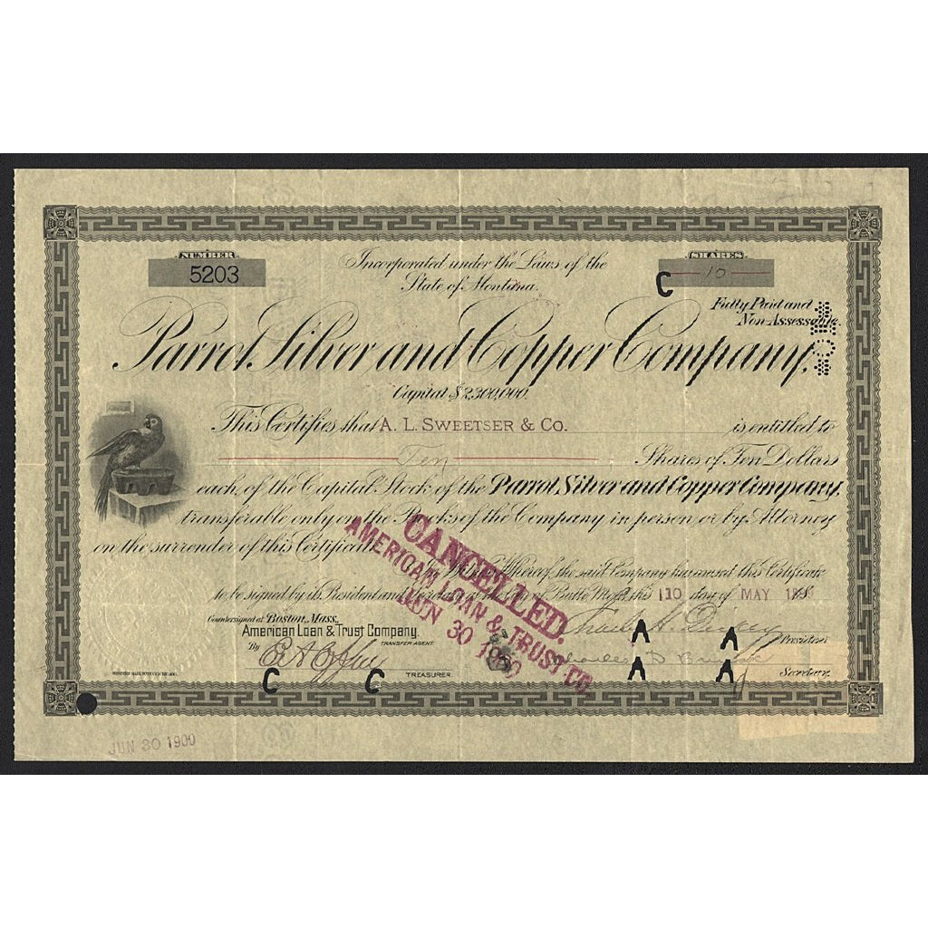 Parrot Silver and Copper Company 1899 Montana Stock Certificate