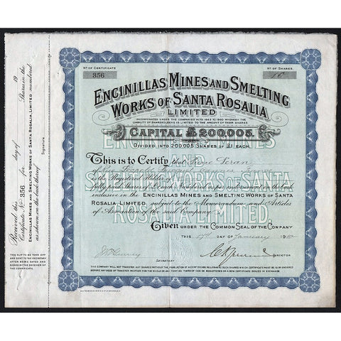 Encinillas Mines and Smelting Works of Santa Rosalia 1910 Baja California Mexico Stock Certificate
