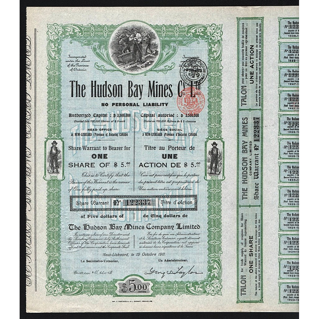 The Hudson Bay Mines 1911 New Liskeard Canada Stock Certificate