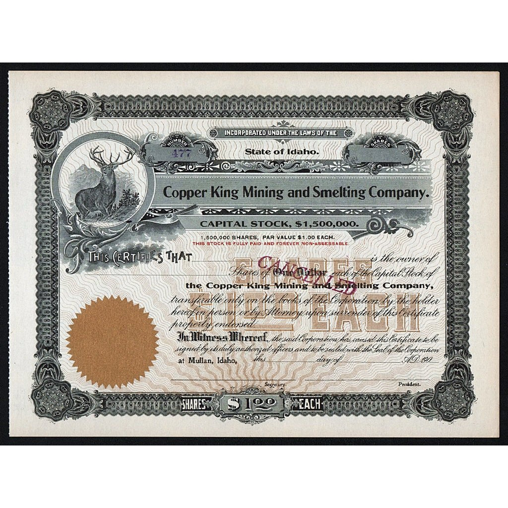 Copper King Mining and Smelting Company Mullan Idaho Stock Certificate