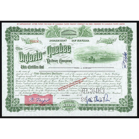 The Ontario and Quebec Railway Company Canada Stock Certificate