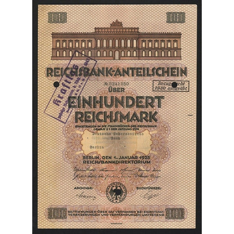 Reichsbank - German Central Bank 1925 Germany Stock Certificate