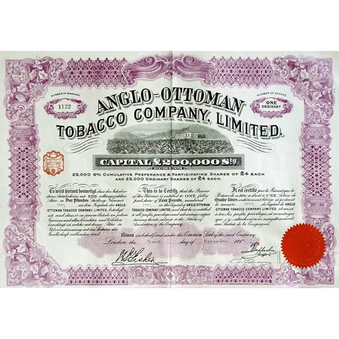 Anglo-Ottoman Tobacco Company, Limited 1930 Turkey Stock Certificate