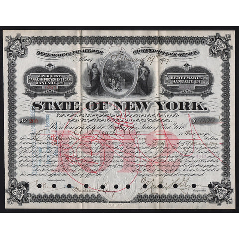 State of New York, Canal Improvement Loan Stock Bond Certificate