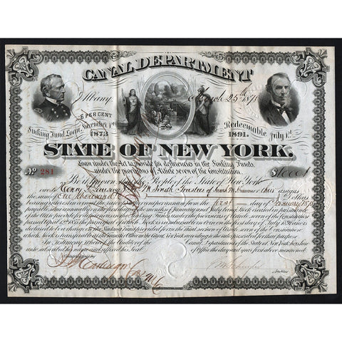 State of New York, Canal Department Loan Stock Bond Certificate