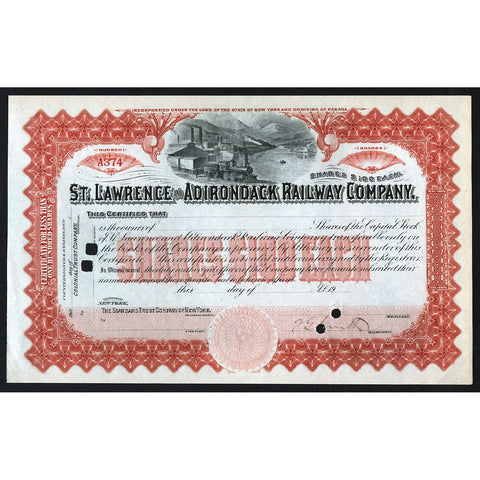 St. Lawrence and Adirondack Railway Company Stock Certificate