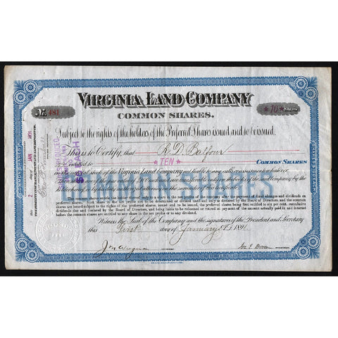 Virginia Land Company Stock Certificate