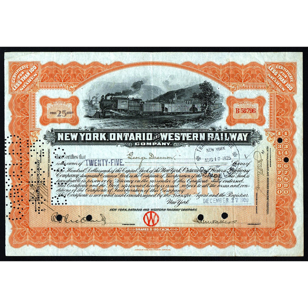 New York, Ontario and Western Railway Company Stock Certificate