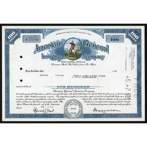 American General Insurance Company 1968 Texas Stock Certificate