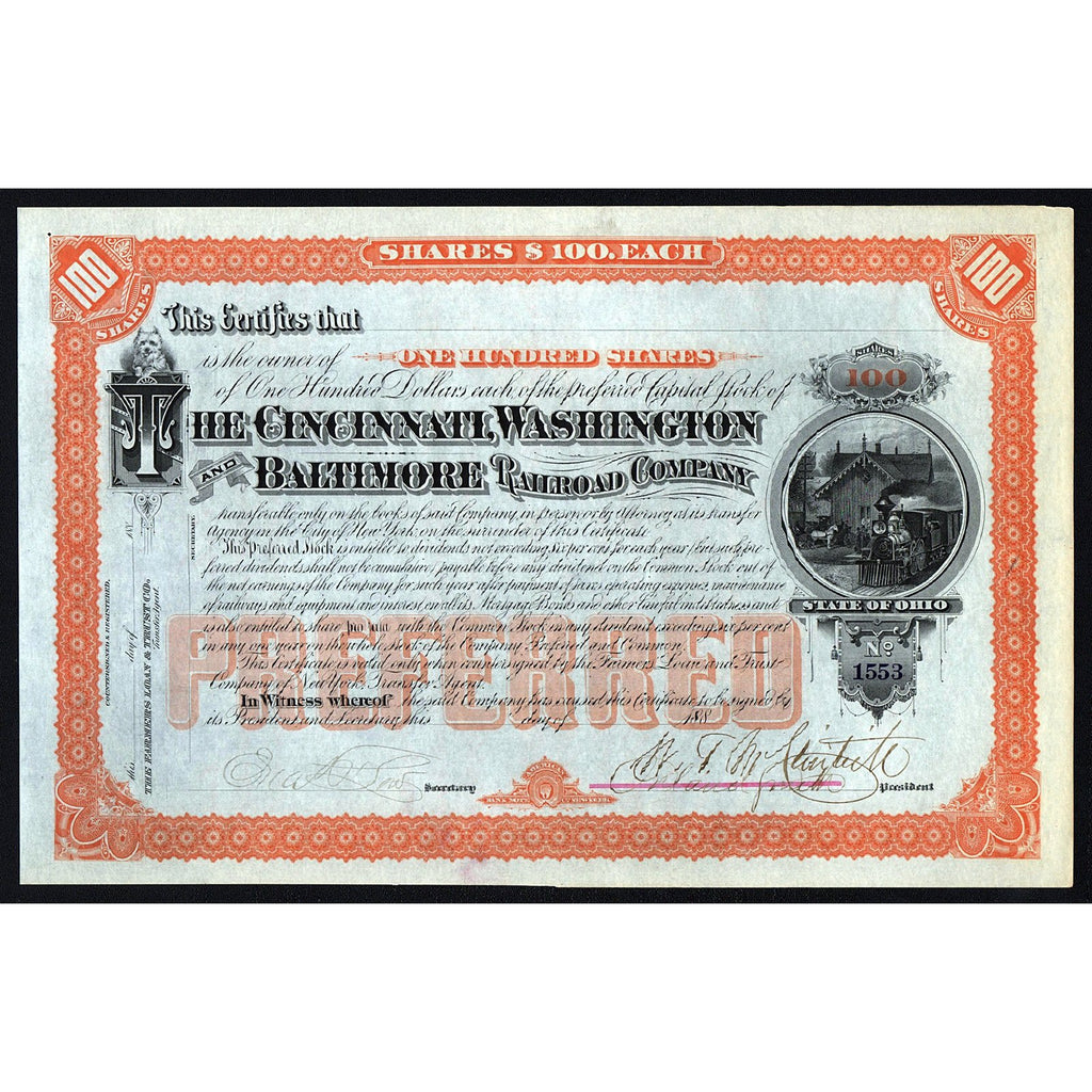 The Cincinnati, Washington and Baltimore Railroad Company Stock Certificate