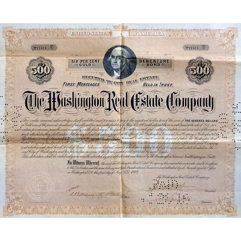 The Washington Real Estate Company DC 1902 Gold Bond Certificate
