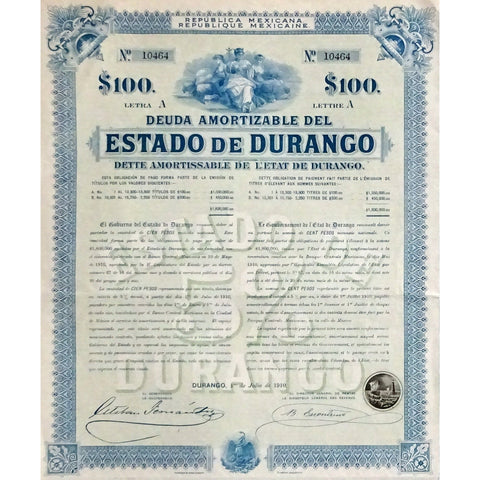 1910 Mexico: Republica Mexicana - Estado de Durango, 100 Pesos Bond Certificate