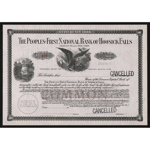 The Peoples-First National Bank of Hoosick Falls NY Stock Certificate