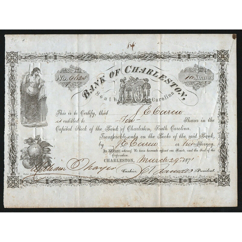 Bank of Charleston 1871 South Carolina Stock Certificate