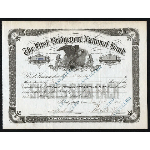 The First-Bridgeport National Bank Connecticut Stock Certificate