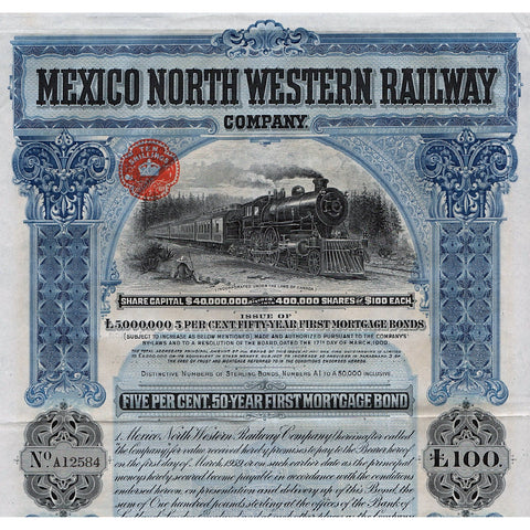 Mexico North Western Railway Company 1909 Canada Stock Bond Certificate