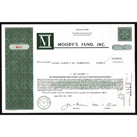 Moody's Fund, Inc. Maryland Stock Certificate
