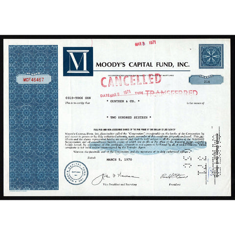 Moody's Capital Fund, Inc. Maryland Stock Certificate
