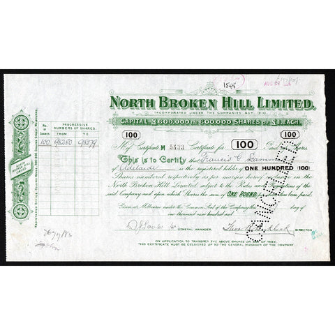 North Broken Hill Limited Australia Mining Stock Certificate