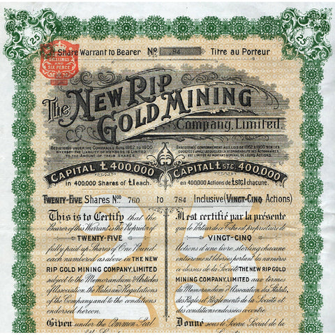 The New Rip Gold Mining Company Limited South Africa Stock Certificate