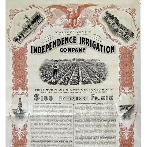 Independence Irrigation Company (Gold Bond) 1914 Stock Certificate