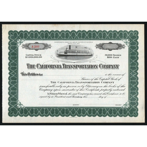 The California Transportation Company Stock Certificate