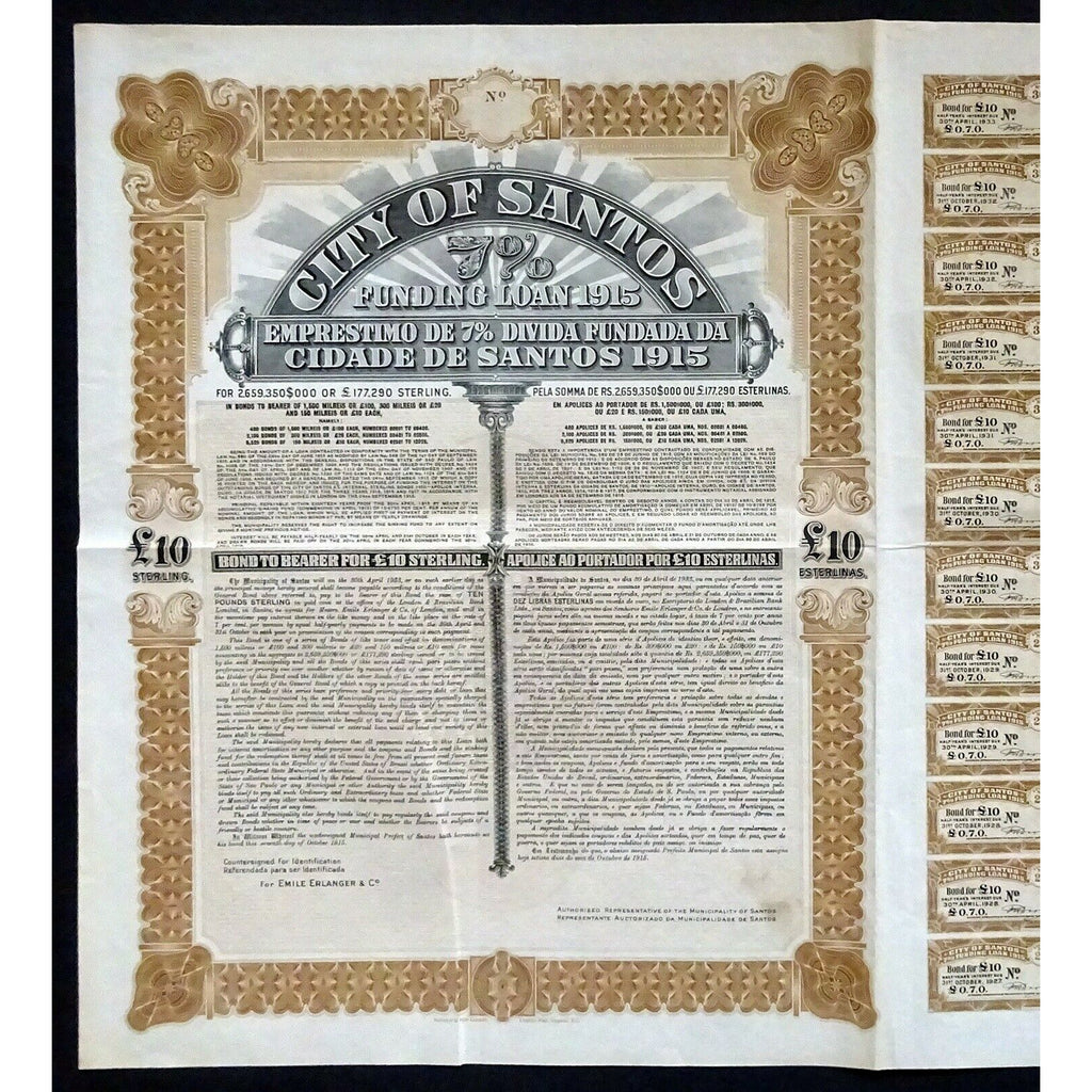 City of Santos, 7% Funding Loan 1915 Brazil Stock Bond Certificate
