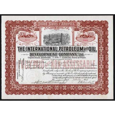 International Petroleum and Oil Development Company Stock Certificate
