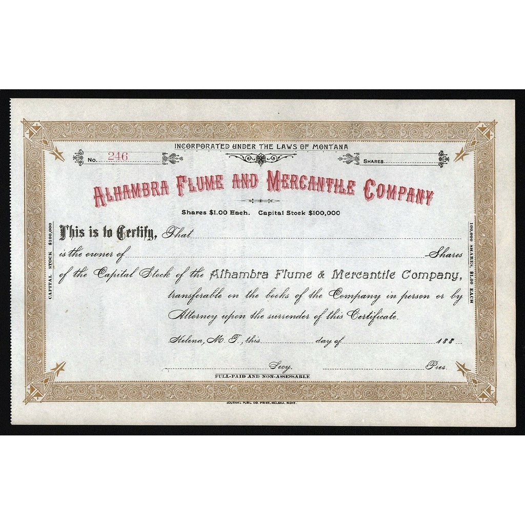 Alhambra Flume and Mercantile Company 1880s Montana Stock Certificate