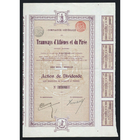 Tramways d'Athenes et du Piree Athens to Piraeus 1900 Greece Stock Certificate